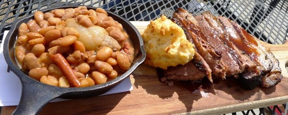 Beans and brisket at Driftwood Southern Kitchen in Raleigh, NC Triangle Dining