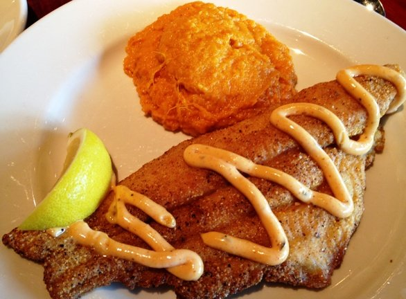 Cornmeal crusted catfish at Lucky 32 in Cary, NC Triangle Dining