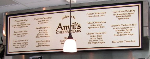Menu at Anvil's Cheesesteaks in Cary, NC Triangle Dining