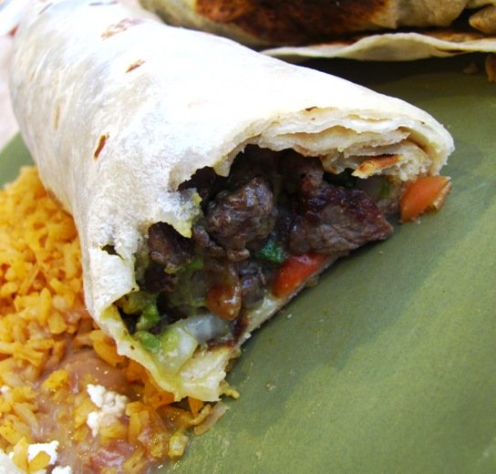 Inner burrito at Los Cuates in Raleigh, NC Triangle Dining