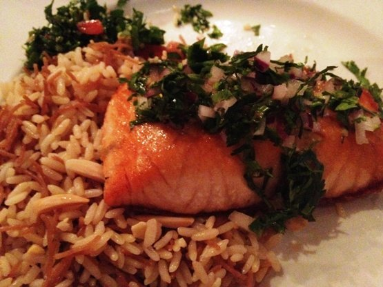 Salmon on Sitti rice, Sitti in Raleigh on NC Triangle Dining