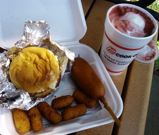 Burger, hushpuppies and corn dog from Cook Out, NC Triangle Dining