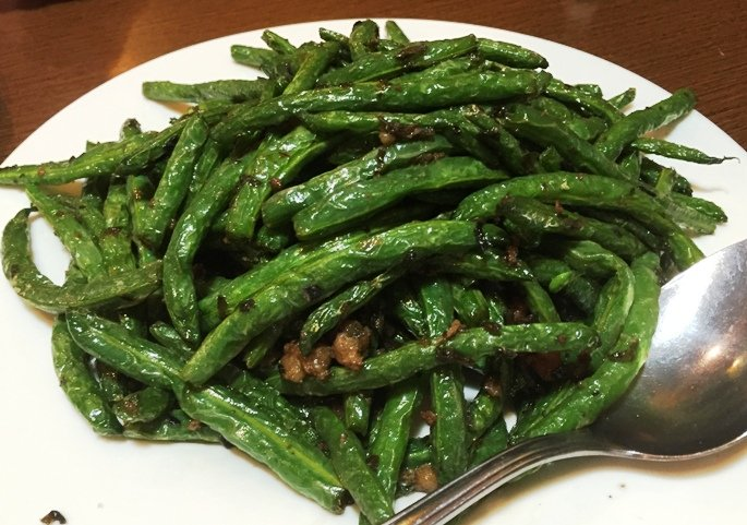 Dry-fried string beans at Super Wok in Cary, NC Triangle Dining