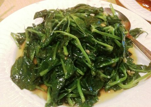 Stir-fried pea shoots at Super Wok in Cary, NC Triangle Dining