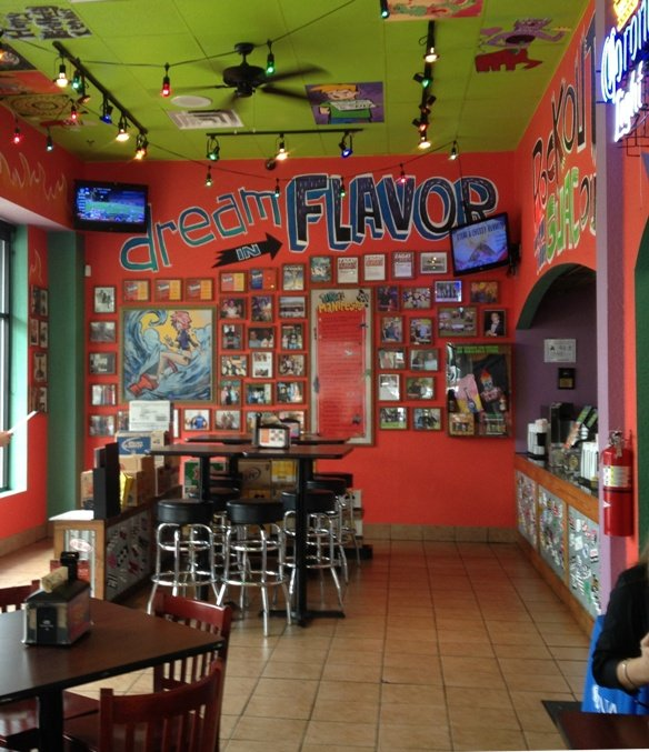 Bright interior at Tijuana Flats in Cary, NC Triangle Dining