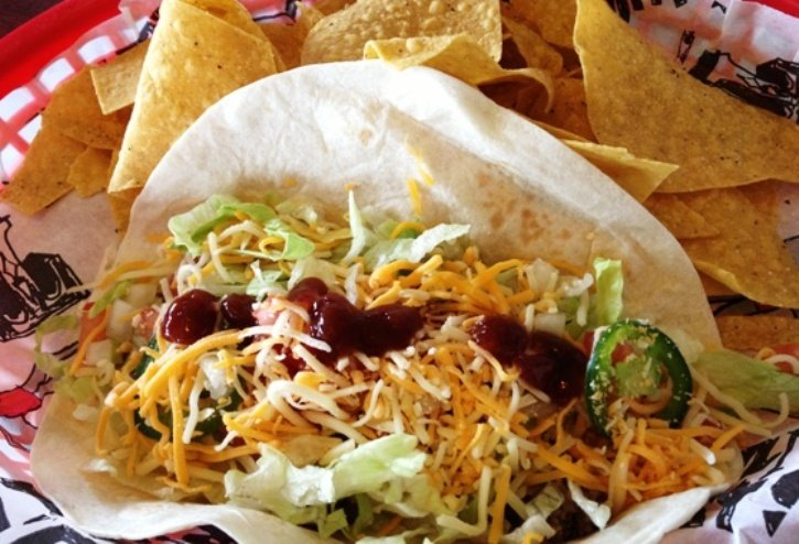 Beef taco and chips at Tijuana Flats in Cary, NC Triangle Dining