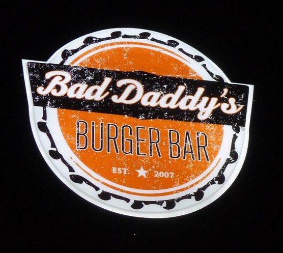 Outdoor sign at Bad Daddy's Burger Bar in Raleigh, NC Triangle Dining