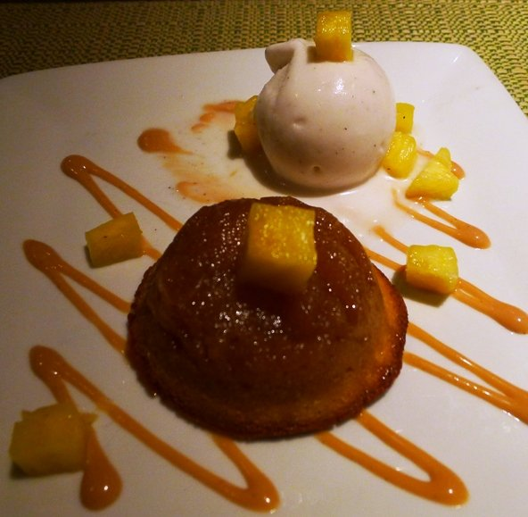 Pineapple upside-down cake at Cochon in New Orleans, NC Triangle Dining
