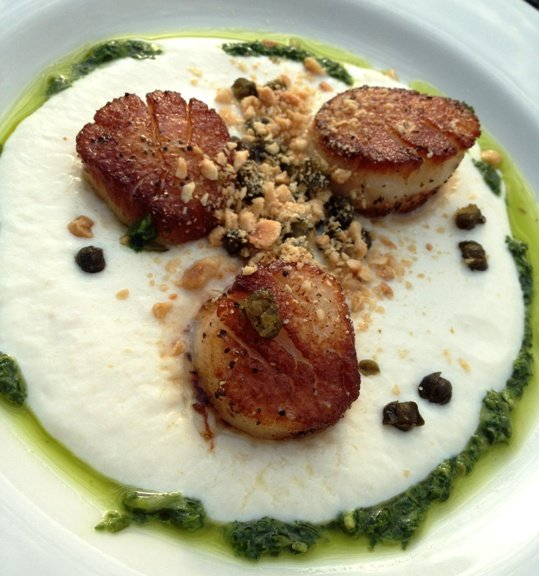 Seared scallops with pesto sauce at Humble Pie, Raleigh- NC Triangle