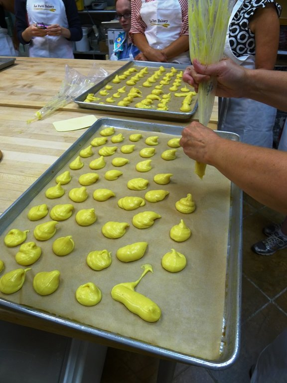 Profiterole making at the La Farm Bakery pastry class in Cary, NC Triangle Dining