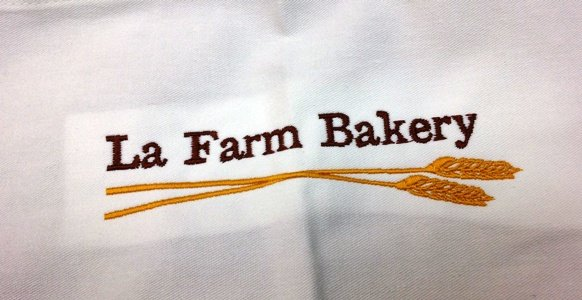 Apron from La Farm Bakery pastry class in Cary, NC Triangle Dining