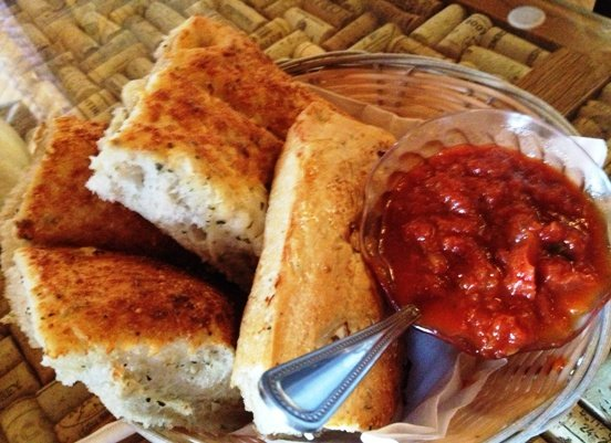 Focaccia and marinara sauce at Daniel's in Apex, NC Triangle Dining