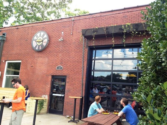 Front of Crank Arm Brewery, Raleigh- NC Triangle Dining