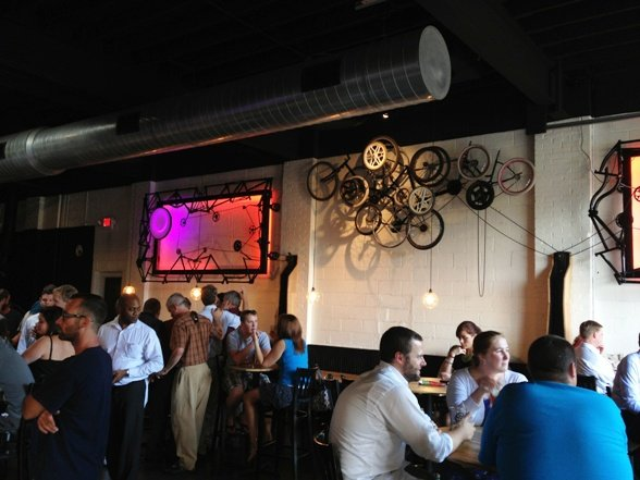 Interesting interior at Crank Arm Brewery, Raleigh- NC Triangle Dining