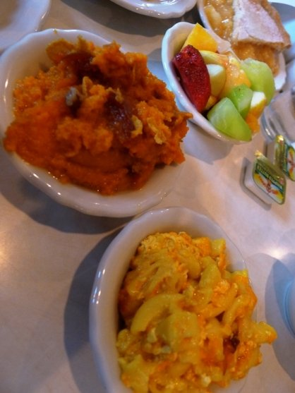 Fruit, yam souffle, mac n cheese at D&S Cafeteria in Raleigh- NC Triangle Dining