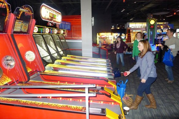 Skee-ball action at Dave and Busters, Cary- NC Triangle Dining