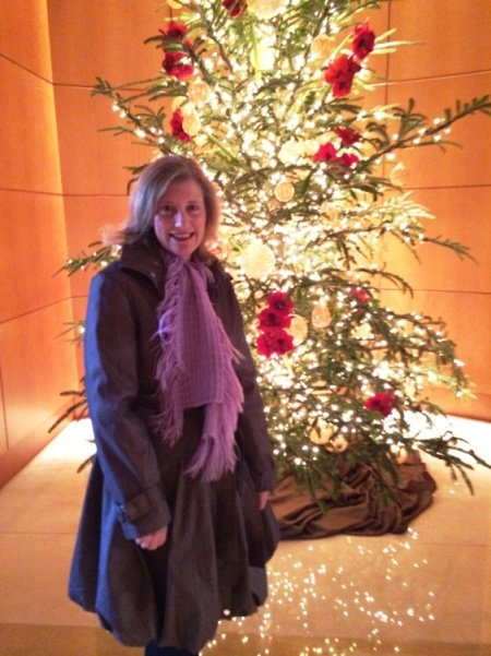 Leigh at the Umstead Hotel Christmas tree in Cary, NC Triangle Dining