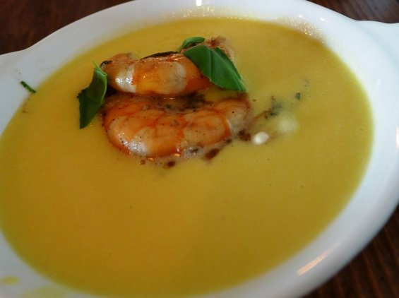 Sweet corn soup with shrimp at the Piedmont, Durham- NC Triangle Dining