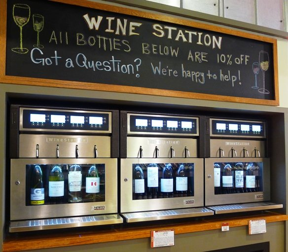 Self-serve wine bar at Raleigh Wine Shop, NC Triangle Dining
