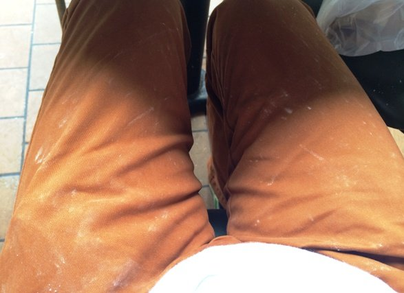 Powdered pants at Cafe Du Monde, New Orleans- NC Triangle Dining