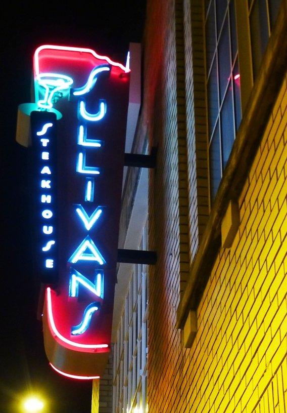 Neon sign at Sullivan's Steakhouse in Raleigh- NC Triangle Dining