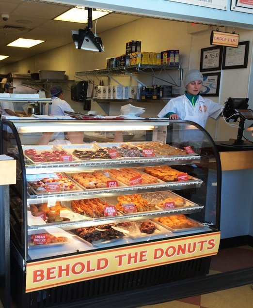 Display case and donuts from Rise in Durham, NC Triangle Dining