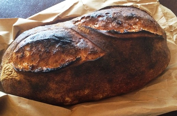 Beautiful loaf of levain bread from Boulted Bread, Raleigh-NC Triangle Dining