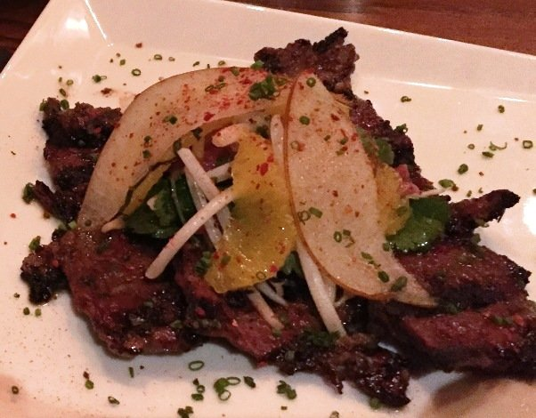 Short-rib with pear plate at Juju Asian Tapas in Durham- NC Triangle Dining