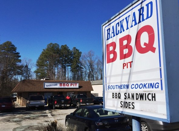 Front of Backyard BBQ Pit in Durham- NC Triangle Dining