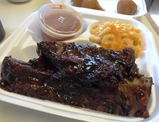 Rib and mac n cheese plate at Backyard BBQ Pit in Durham- NC Triangle Dining