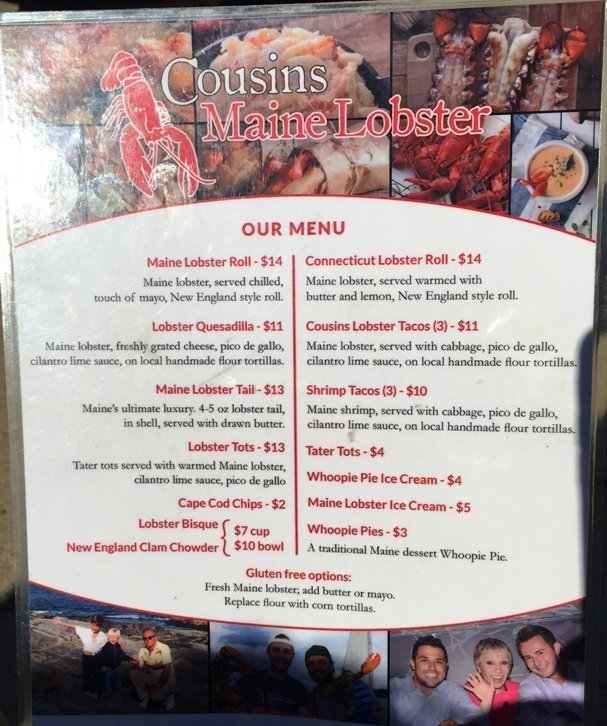 Menu for Cousins Maine Lobster food truck Raleigh- NC Triangle Dining