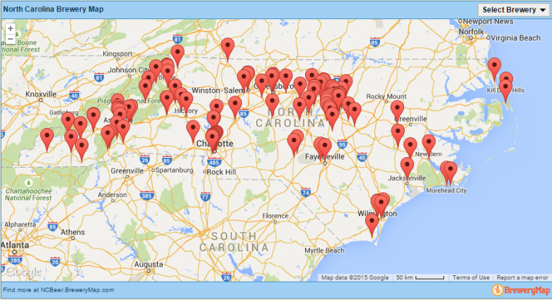 NC Breweries map courtesy of NCbeer.org