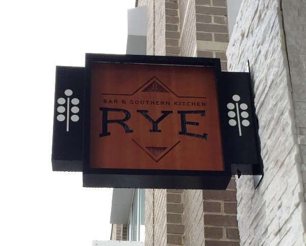 Outside sign for Rye Bar & Southern Kitchen, Raleigh- NC Triangle Dining