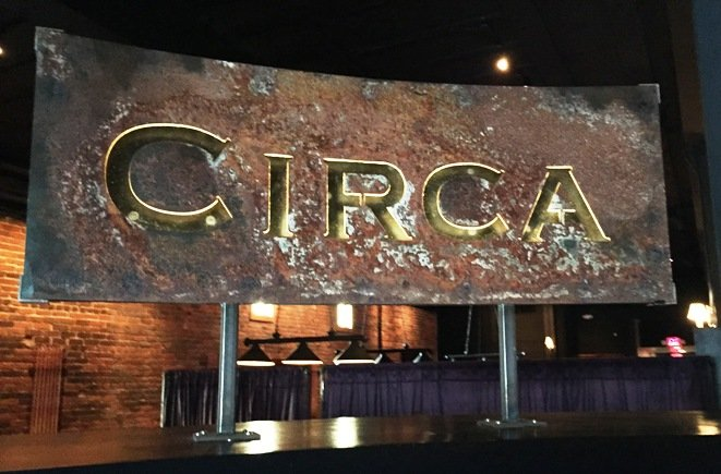 Entry-way sign at Circa 1888 in Raleigh- NC Triangle Dining