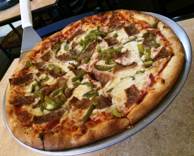 Sausage and green pepper pie at Frank's Pizza, Raleigh- NC Triangle Dining