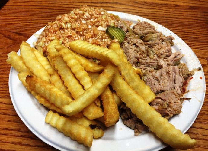 Coarsely chopped barbeque plate at Lexington Barbecue in Lexington- NC Triangle Dining