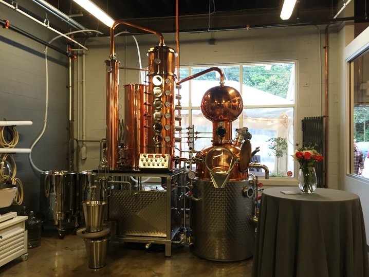 Distilling equipment at the Durham Distillery - NC Triangle Dining