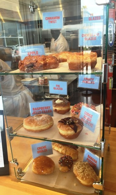 Donut display case at Rise in Morrisville- NC Triangle Dining