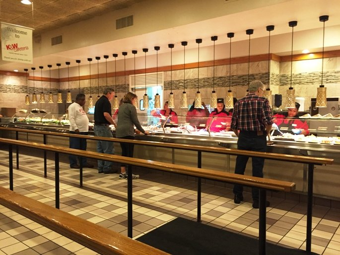 Buffet line at K&W Cafeteria in Raleigh- NC Triangle Dining