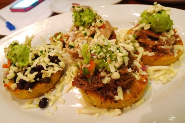 Arepas appetizer at Luna Rotisserie and Empanadas in Durham- NC Triangle Dining