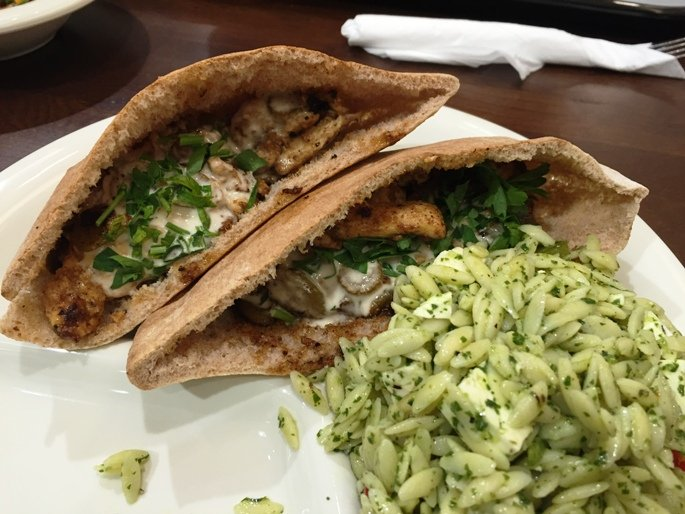 Chicken kabob pita at Sassool in Cary- NC Triangle Dining