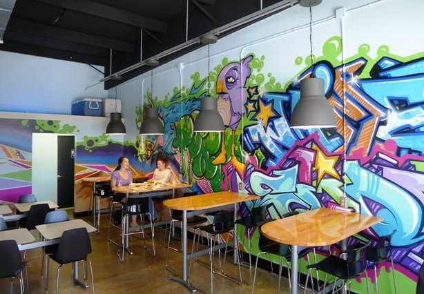 Graffiti wall at Ko Kyu Na'mean in Durham- NC Triangle Dining