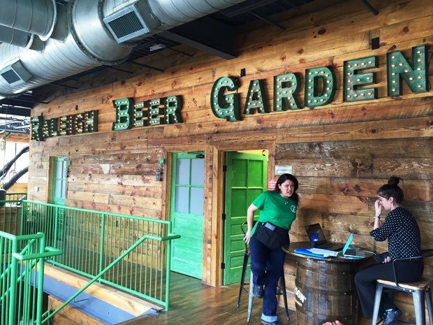2nd floor landing at Raleigh Beer Garden in Raleigh- NC Triangle Dining