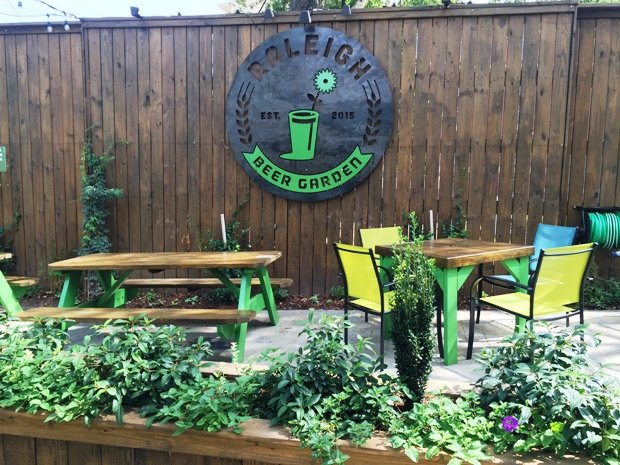 Outdoor tables at Raleigh Beer Garden in Raleigh- NC Triangle Dining