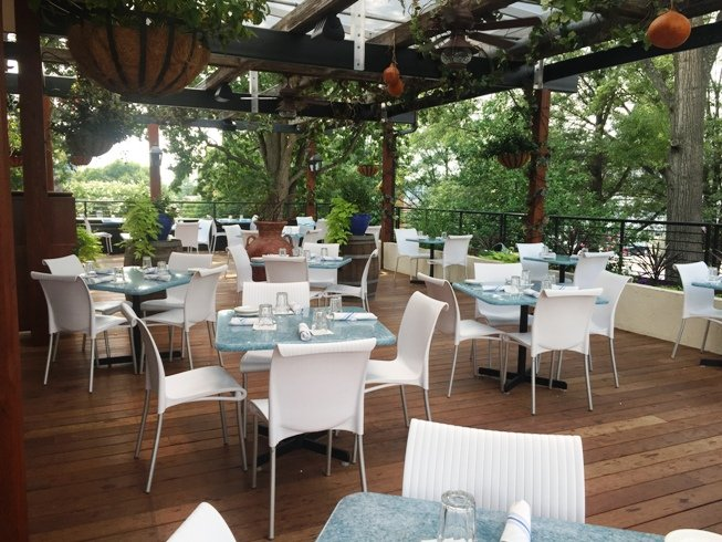 Beautiful garden patio at Taverna Agora, Raleigh- NC Triangle Dining