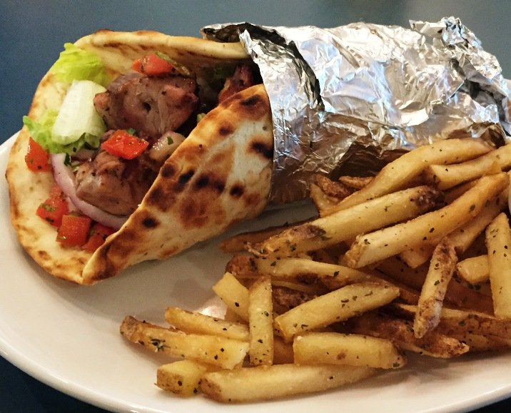 Pork souvlaki pita at Taverna Agora, Raleigh- NC Triangle Dining