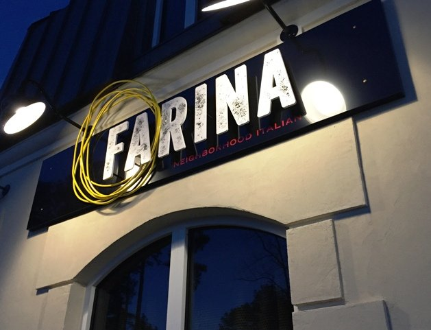 Signage for Farina Italian in Raleigh- NC Triangle Dining