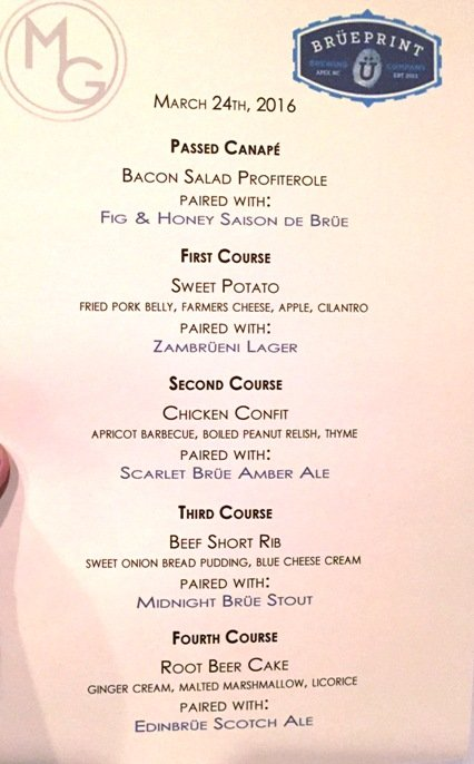 Bruepoint beer dinner menu at Midtown Grille in Raleigh- NC Triangle Dining