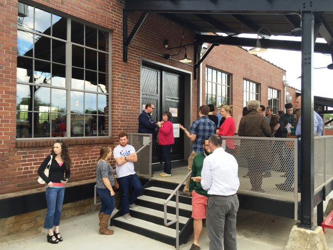 Crowd waiting for the Big Biscuit Brew Ha-Ha in Durham- NC Triangle Dining