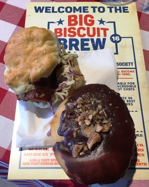 Pork belly biscuit and stout donut at the Big Biscuit Brew Ha-Ha in Durham- NC Triangle Dining